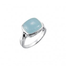 Sterling Silver 12x10mm Genuine Milky Aquamarine Ring