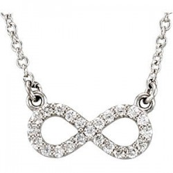"Platinum 1/8 CTW Diamond 16"" Necklace"