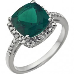 14K White Created Emerald & .03 CTW Diamond Ring