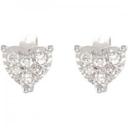 14K White 1/6 CTW Diamond Heart Earrings