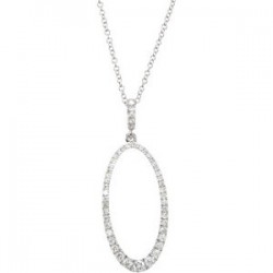 "14K White 5/8 CTW Diamond Oval Silhouette 18"" Necklace"