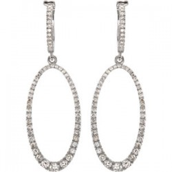 14K White 1 1/4 CTW Diamond Oval Silhouette Earrings