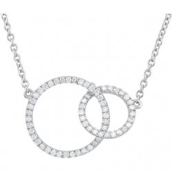 "14K White 1/3 CTW Black & White Diamond Circle 18"" Necklace"