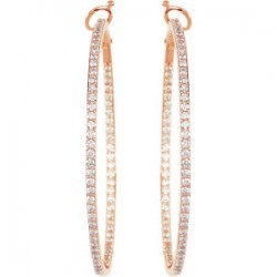 14kt Rose 1 1/3 CTW Diamond Inside/Outside Hoops