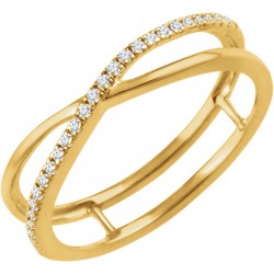 14K Yellow 1/10 CTW Diamond Criss-Cross Ring
