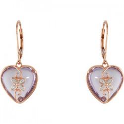 Rose de France & Diamond Heart Lever Back Earrings