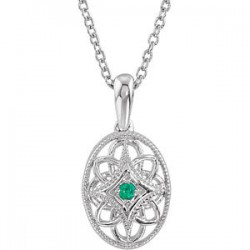"Sterling Silver Emerald 18"" Necklace"