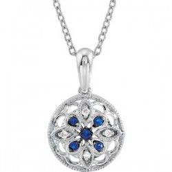 "Sterling Silver Sapphire & .03 CTW Diamond 18"" Necklace"