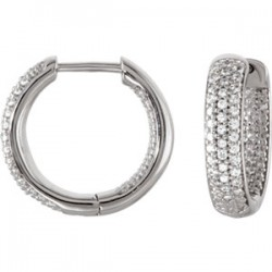 Sterling Silver 19mm Cubic Zirconia Inside/Outside Hoop Earrings