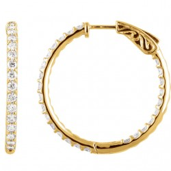14K Yellow 2 CTW Diamond Inside/Outside Hoop Earrings