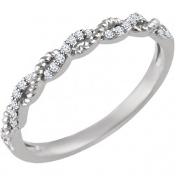 14K White .08 CTW Diamond Stackable Ring