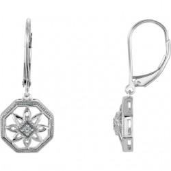 14K White .04 CTW Diamond Lever Back Earrings