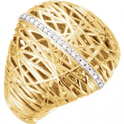 14K Yellow 1/6 CTW Diamond Nest Design Ring