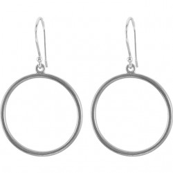 14K White Circle Shaped Earrings