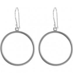 14K White Circle Shaped Earrings