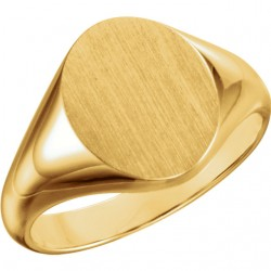 14K Yellow 11x9.5mm Oval Signet Ring
