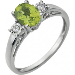 14K White Peridot & .04 CTW Diamond Ring