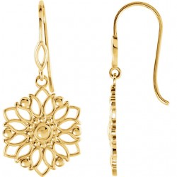 14K Yellow Decorative Dangle Earrings