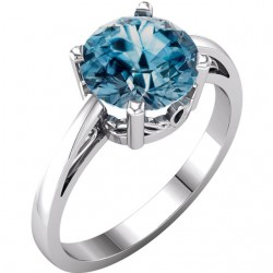 14K White Swiss Blue Topaz Ring