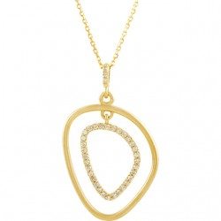 """Sterling Silver & 14kt Yellow 1/6 CTW Diamond Open Silhouette Necklace 18"""""""
