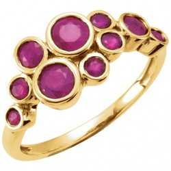 14K Yellow Ruby Bezel Set Ring
