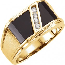 Gents Onyx And Diamond Ring -90003133