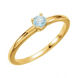 "14kt Yellow Imitation Aquamarine ""March"" Youth Birthstone Ring"