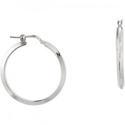 Sterling Silver 24mm Round Knife Edge Tube Style Hoop Earrings