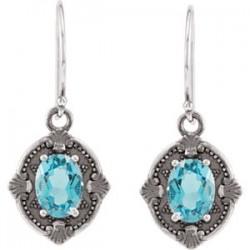 Sterling Silver Swiss Blue Topaz Earrings
