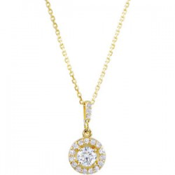 "14kt White 1/2 CTW Diamond Halo-Styled 18"" Necklace"