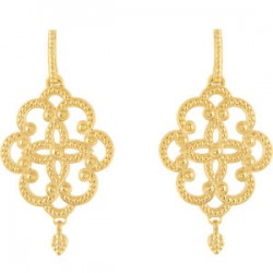 14K Yellow Granulated Earrings