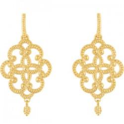 14K Yellow Granulated Earrings
