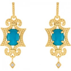 14K Yellow Turquoise & .03 CTW Diamond Earrings