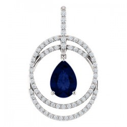14K White ChathamB. Created Blue Sapphire & 1/2 CTW Diamond Pendant