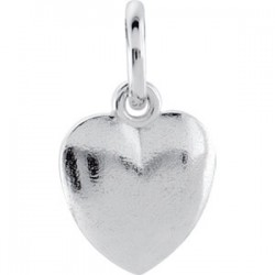 14K White 15.15x8.9mm Puffed Heart Charm with Jump Ring