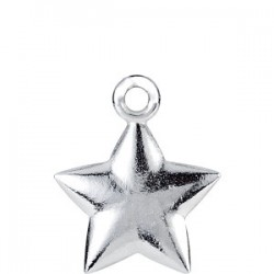 14K White 15.75x9.75mm Puffed Star Charm with Jump Ring
