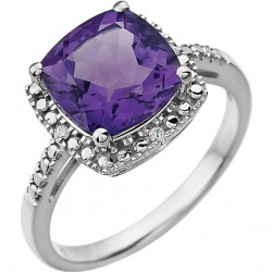 14K White Amethyst & .03 CTW Diamond Ring