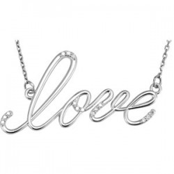 "Sterling Silver .08 CTW Diamond ""Love"" Design 18"" Necklace"