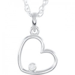 "Sterling Silver .03 CTW Diamond Heart 18"" Necklace"