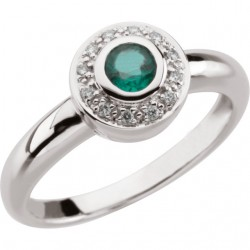 14K White Emerald & .06 CTW Diamond Ring