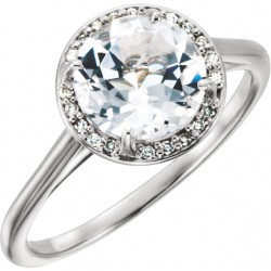 14K White White Topaz and .05CTW Diamond Ring