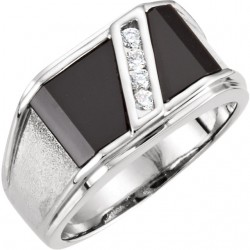 14K White Men-s Onyx & 1/8 CTW Diamond Ring