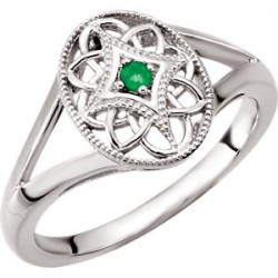 Sterling Silver 2mm Round Emerald Ring Size 8