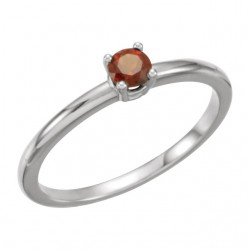 "Sterling Silver Imitation Garnet ""January"" Youth Birthstone Ring"