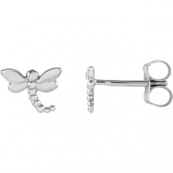 14K White Dragonfly Earrings