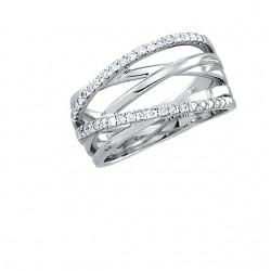 14K White 1/3 CTW Diamond Criss Cross Ring