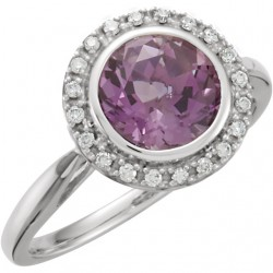 14K White Amtheyst & 1/8 CTW Diamond Ring