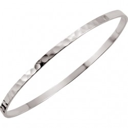Sterling Silver 3.25mm Hammered Bangle Bracelet