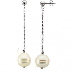 14K White 9-11mm Freshwater Cultured Pearl Dangle Earrings