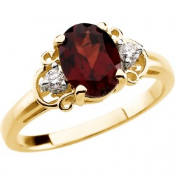 14K Yellow Mozambique Garnet & .06 CTW Diamond Accented Ring